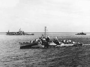 USS Kidd (DD-661) - Kidd off Roi island, 12 June 1944.