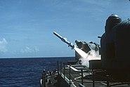 USS Lawrence (DDG 4) launching a RGM-84A Harpoon