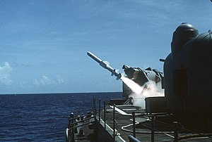 Mark 11 missile launcher - Image: USS Lawrence (DDG 4) launching a RGM 84A Harpoon