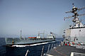 US Navy 040919-N-5471P-004 The guided missile destroyer USS Preble (DDG 88) conducts a refueling at sea (RAS) with the British Royal Fleet Auxiliary support tanker RFA Bayleaf (A 109).jpg
