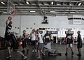 US Navy 050122-N-1229B-125 Sailors aboard USS Abraham Lincoln (CVN 72) participate in a Moral, Welfare and Recreational (MWR) sponsored basketball tournament.jpg