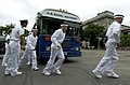 US Navy 050629-N-9693M-288 Prospective Midshipmen exit a bus under instruction from a 1st Class Midshipman prior to entering Bancroft Hall at the United States Naval Academy in Annapolis, Md.jpg