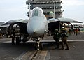 US Navy 060310-N-2838C-025 An F-14D Tomcat assigned to the Tomcatters of Fighter Squadron Three One (VF-31) taxis into launch position on the flight deck aboard the Nimitz-class aircraft carrier USS Theodore Roosevelt (CVN 71).jpg