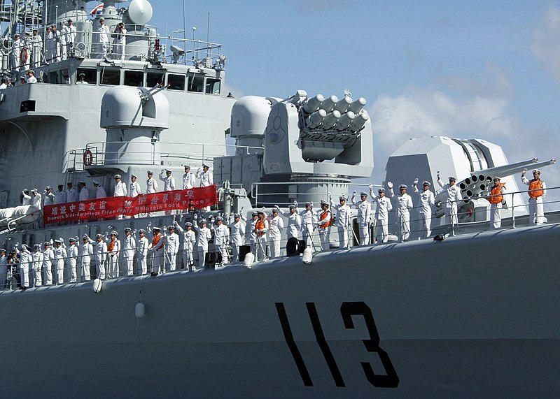 File:US Navy 060910-N-0879R-012 Sailors aboard the Chinese Navy destroyer Qingdao (DDG 113) man the rails as they depart Pearl Harbor.jpg
