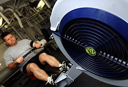 US Navy 070329-N-8923M-029 Lt. Shaun Estep of Strike Fighter Squadron (VFA) 37, the Raging Bulls, prepares for the physical readiness test (PRT) on a rowing machine.jpg