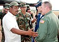 US Navy 070906-N-3666S-001 Capt. Daniel Fillion, executive officer aboard USS Wasp (LHD 1), meets with Puerto Cabezas Gov. Reynaldo Francis during an initial damage assessment of the area after the landfall of Hurricane Felix.jpg