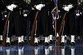 US Navy 090106-F-6655M-277 Members of the U.S. Navy Ceremonial Guard stand at attention during the armed forces full-honor farewell to President George W. Bush.jpg