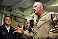 US Navy 090115-N-9693M-002 Rear Adm. Terry McKnight conducts an Admiral's call with members of Fleet Surgical Team 8 aboard USS San Antonio (LPD 17).jpg