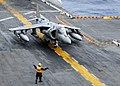 US Navy 091203-N-3165S-008 An AV-8B Harrier prepares for its final take-off from USS Bataan (LHD 5).jpg