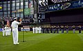 US Navy 100608-N-5208T-005 Rear Adm. Gerald R. Beaman delivers the oath of enlistment to future Sailors at a Milwaukee Brewers baseball game during Milwaukee Navy Week 2010.jpg