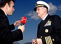 US Navy 110209-N-7326M-180 Capt. Dee L. Mewbourne, commanding officer of the aircraft carrier USS Enterprise (CVN 65), is interviewed by a Turkish.jpg