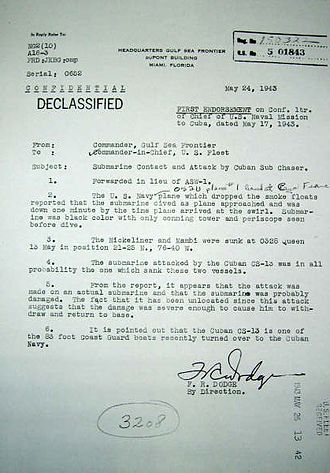 Cuba during World War II - A declassified United States Navy report regarding the sinking of U-176.