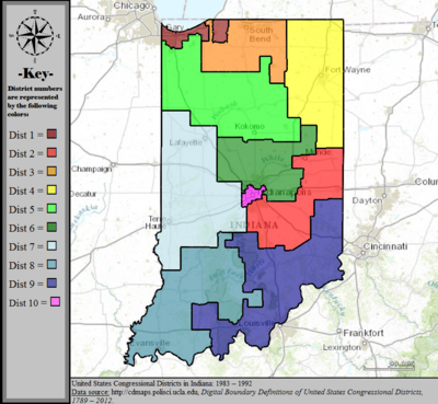 United States Congressional Districts in Indiana, 1983 – 1992.tif