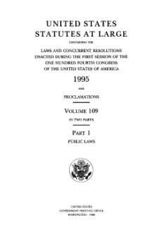 United States Statutes at Large Volume 109 Part 1.djvu