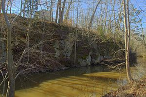 Upper Appomattox Canal Navigation System - Upper Appomattox Canal begins upstream as a contour canal split out of granite and dug out of soil and clay.