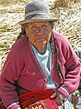Uros Islands Lake Titicaca elderly woman.jpg