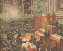 La explosión de la Cámara de Diputados, pintada por el artistaDerroir.