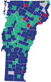 County (left) and Municipal (right) results of the Vermont Republican primaries, 2016.   Donald Trump   John Kasich   Marco Rubio   Tie   Not reported[b]