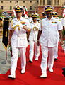 Vice Admiral Jayantha Perera received by Chief of the Naval Staff Admiral RK Dhowan at South Block, New Delhi.JPG
