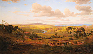 Geelong - View of Geelong. 1856 oil painting by Eugene von Guérard.