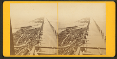 View of piles for jetty taken from the pile driver, showing Port Eads in the distance, by Theodore Lilienthal.png