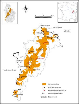 Jura wine - Detailed map of the Jura wine region.