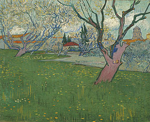 View of the Asylum and Chapel of Saint-Rémy - Image: Vincent van Gogh Bloeiende boomgaarden, gezicht op Arles Google Art Project