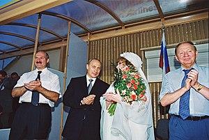 Alla Pugacheva - Pugacheva with Russian President Vladimir Putin, Belarusian President Alexander Lukashenko, Ukrainian President Leonid Kuchma in Slavianski Bazaar in Vitebsk, 25 July 2001.