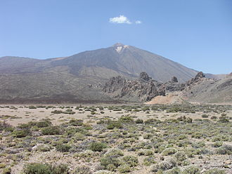 Teide - Mount Teide from a distance with a cloud at the top
