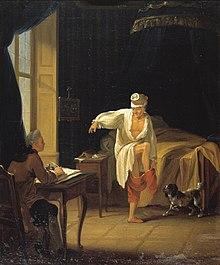 Voltaire gibt Collini ein Diktat, während er sich ankleidet, Ölgemälde von Jean Huber um 1772 (Quelle: Wikimedia)