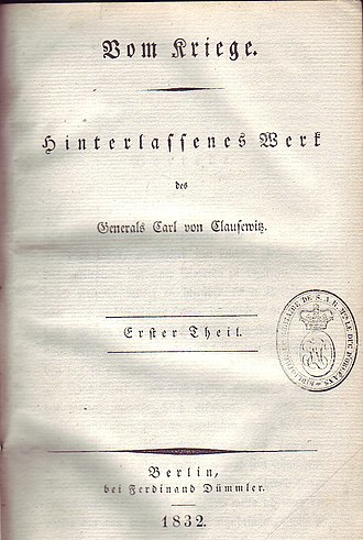 On War - Title page of the original German edition Vom Kriege, published in 1832.
