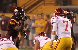 Vontaze Burfict - Burfict (left) pointing at USC Trojans quarterback Matt Barkley in 2011