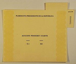 Chilean national plebiscite, 1988 - Original ballot.