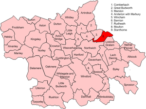 Wincham - Map of civil parish of Wincham in the former borough of Vale Royal