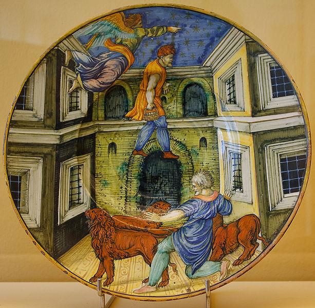 File:WLANL - MicheleLovesArt - Museum Boijmans Van Beuningen - Istoriato schotel, Daniel in de leeuwenkuil.jpg