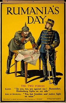 Az antant propagandaposztere Románia hadba lépéséről