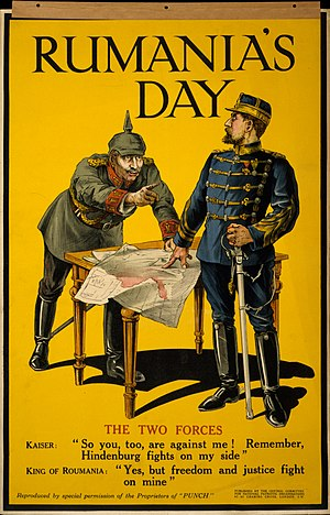 Take Ionescu - Romania's Day, a British 1916 poster based on a Punch cartoon, welcoming Romania's decision to enter the war (depicting an allegoric debate between German Emperor William II and Romania's Ferdinand I)