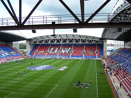 Latics and Warriors share the DW Stadium Warm up at the DW Stadium, Wigan - geograph.org.uk - 2012508.jpg