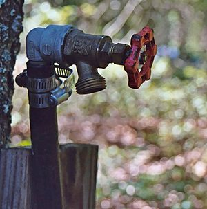 "Tap (valve) - Exterior spigot (also known as a ""shut-off valve"", ""hose hydrant"", ""hose bib"", or ""silcock"")"