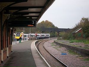 Wellingborough railway station - Platform 3 and the currently disused Platform 4 in the right.