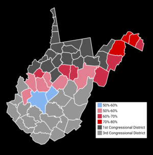 Alex Mooney - Results by county, 2016