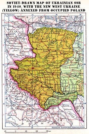 Territories of Poland annexed by the Soviet Union - Soviet annexation of territory of eastern Poland ceded to Ukrainian SSR (yellow), 1940