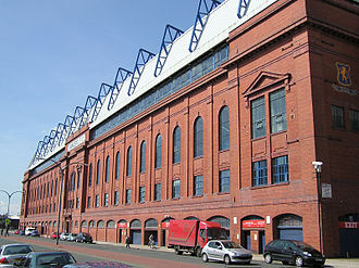 The main stand of Ibrox Stadium, the home of Rangers F.C., is a Category B listed building. Wfm ibrox main stand.jpg