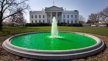 White House fountain dyed green for Saint Patrick's Day 2011