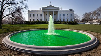 Saint Patrick's Day in the United States - The north White House fountain has been dyed green for Saint Patrick's Day every year since 2009.