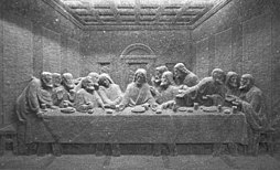 "Da Vinci's ""The Last Supper"", carved in salt"