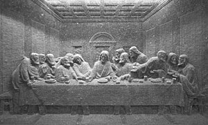 A rendering of the Last Supper made from salt, Wieliczka salt mine, Poland