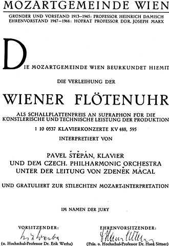 Czech Philharmonic - Wiener Flötenuhr 1971