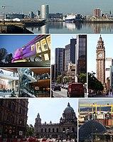 Oben: Skyline Belfasts, Mitte: Ulster Museum, Victoria Square, Great Victoria Street, Albert Clock, Unten: Belfast City Hall, Harland & Wolff