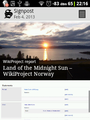 Wikipedia Signpost 2013-02-07 on Huawei IDEOS - Land of the Midnight Sun.png